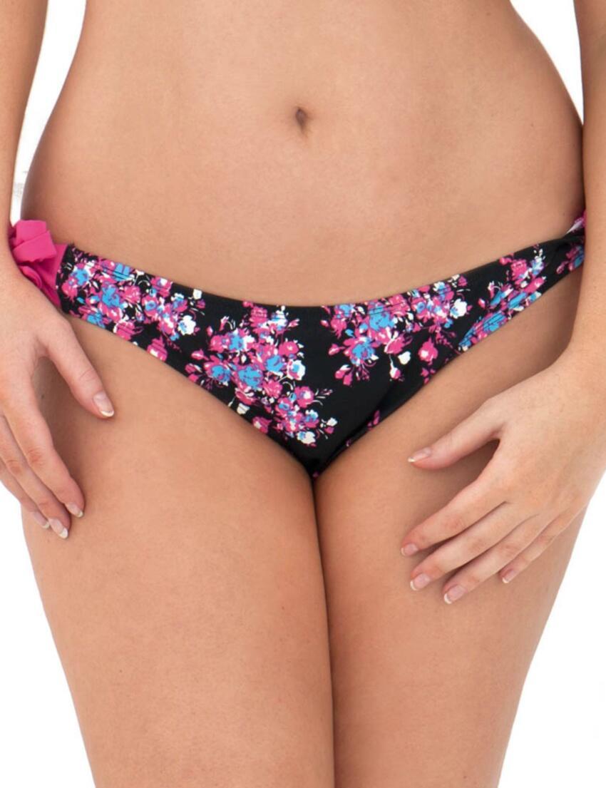 CS2515 Curvy Kate Moonflower Ruffle Tie Side Brief Black/Floral - CS2515 Tie Side Brief