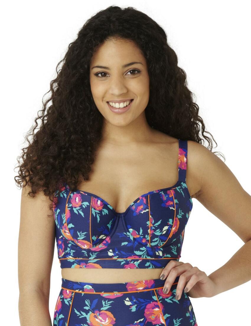 CW0153 Cleo Cassie Longline Bikini Top Floral Print - CW0153 Longline Bikini Top