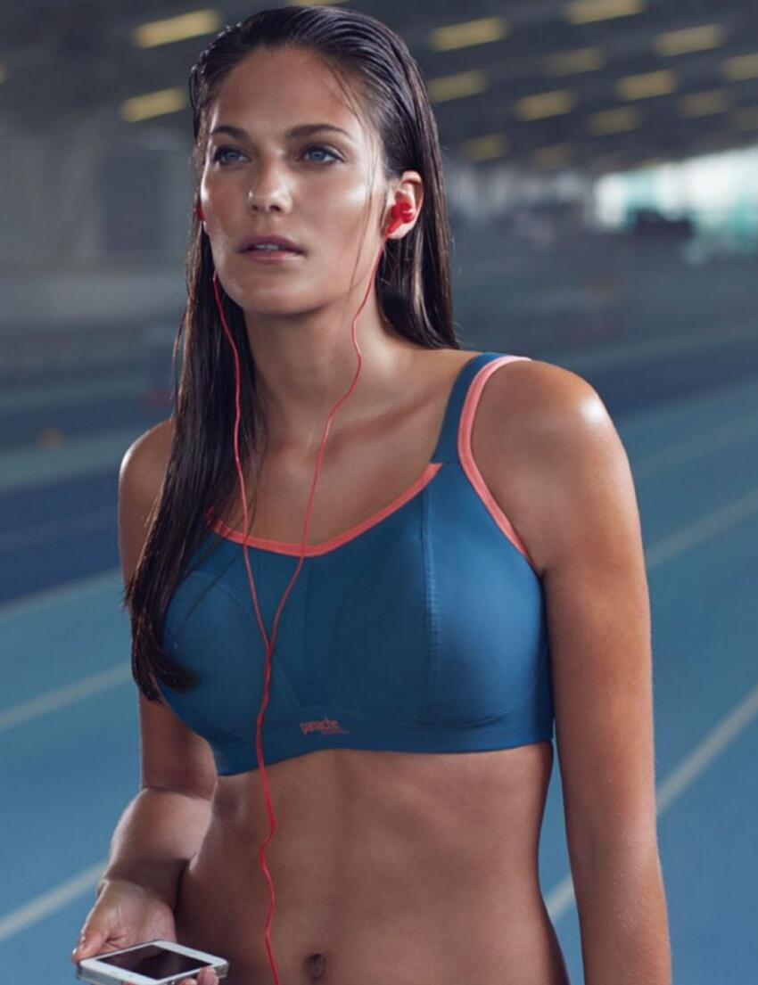 7341 Panache Non Wired Sports Bra Grey/Coral - 7341 Sports Bra