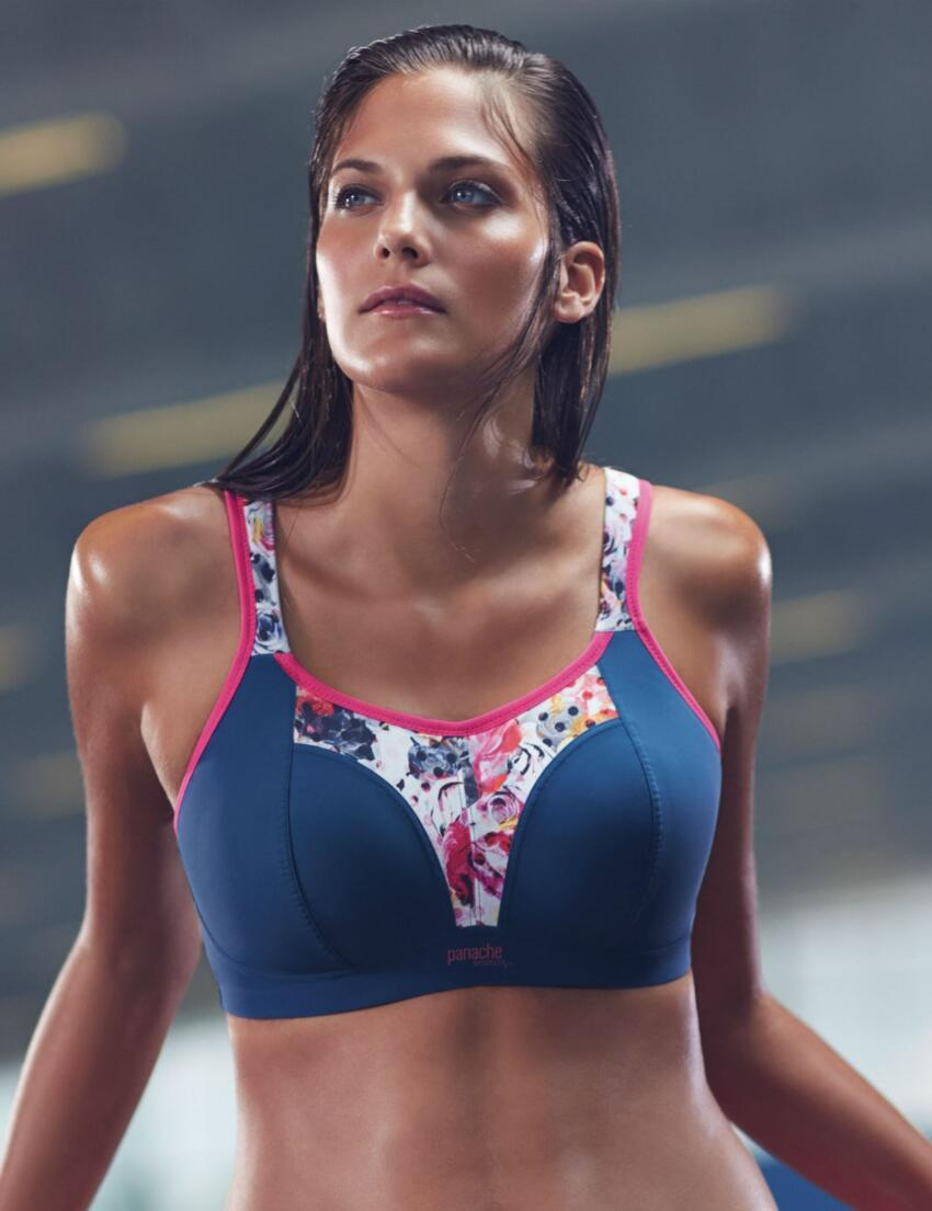 7341 Panache Non Wired Sports Bra Grey Floral - 7341 Sports Bra