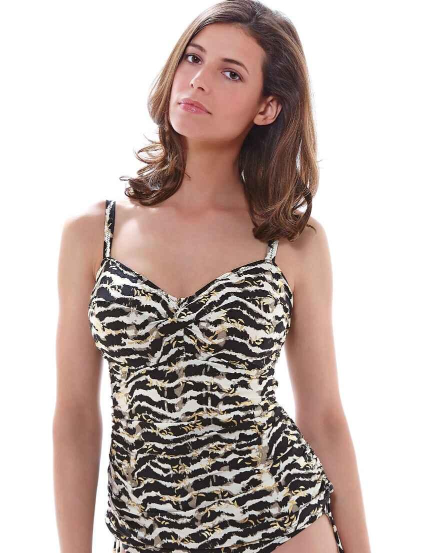 6cd3a733fe416 Outlet · 6137 Fantasie Milos Twist Front Tankini Top Black/Cream - 6137 Tankini  Top