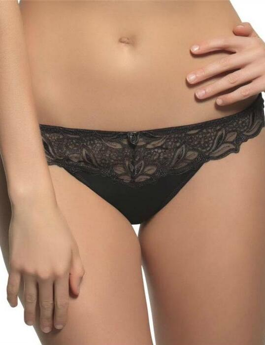 6059 Panache Melody Thong  Black/White/Nude - 6059 Black