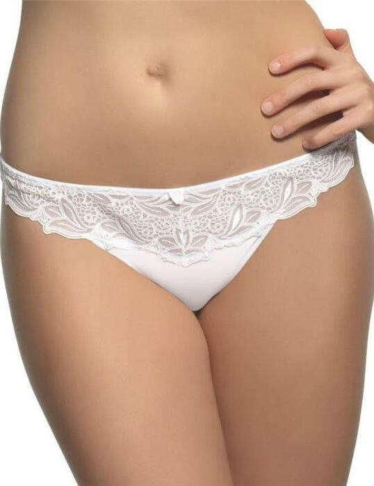 6059 Panache Melody Thong  Black/White/Nude - 6059 White