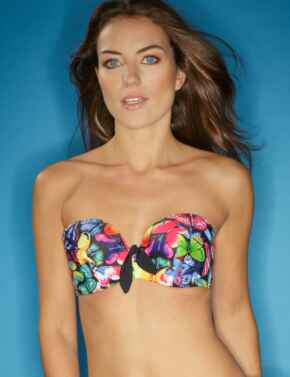 69000 Pour Moi? Copacabana Padded Strapless Bikini Top - 69000 Butterfly/Multi