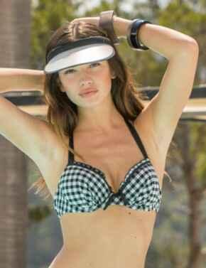 67000 Pour Moi Checkers Padded Halterneck Bikini Top - 67000 Black/White