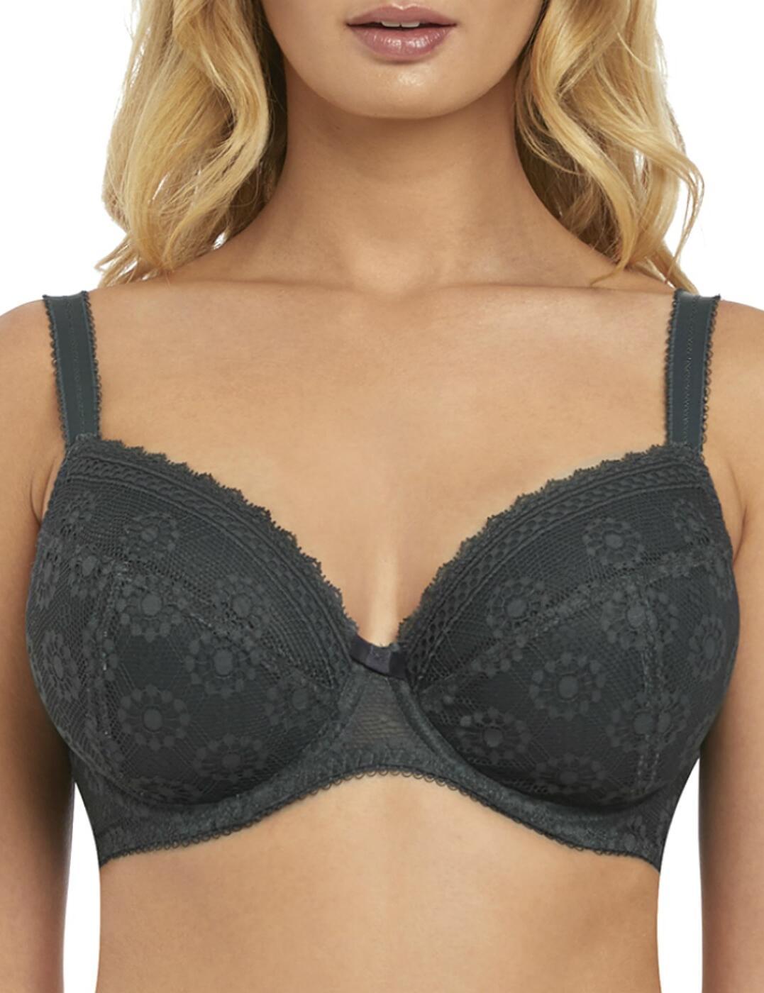 Freya Love Note Plunge Bra 5213 Womens Padded Bras New Lingerie Slate Grey