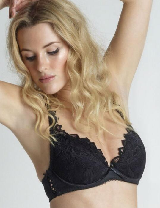 929a28f35add1 Lepel Fiore Black Underwired Padded Lace Cup Plunge Bra Size 30f ...