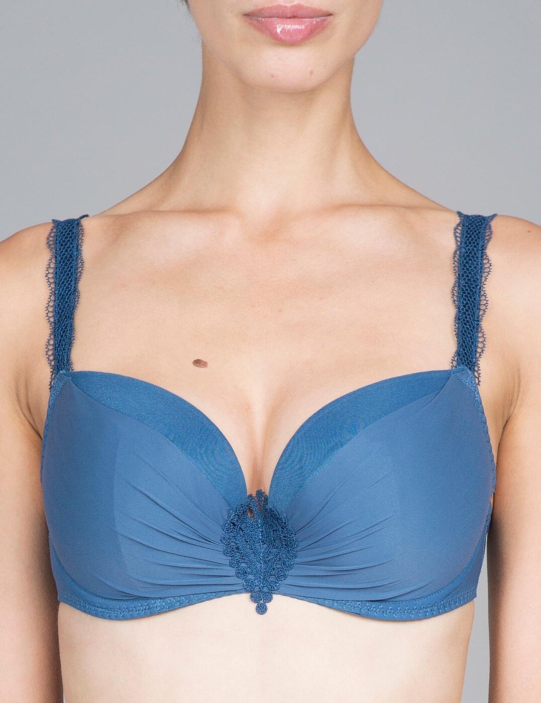 G61432 Maison Lejaby Attrape-Coeur 3 Part Padded Balconette Bra - G61432 Saphir Bleu
