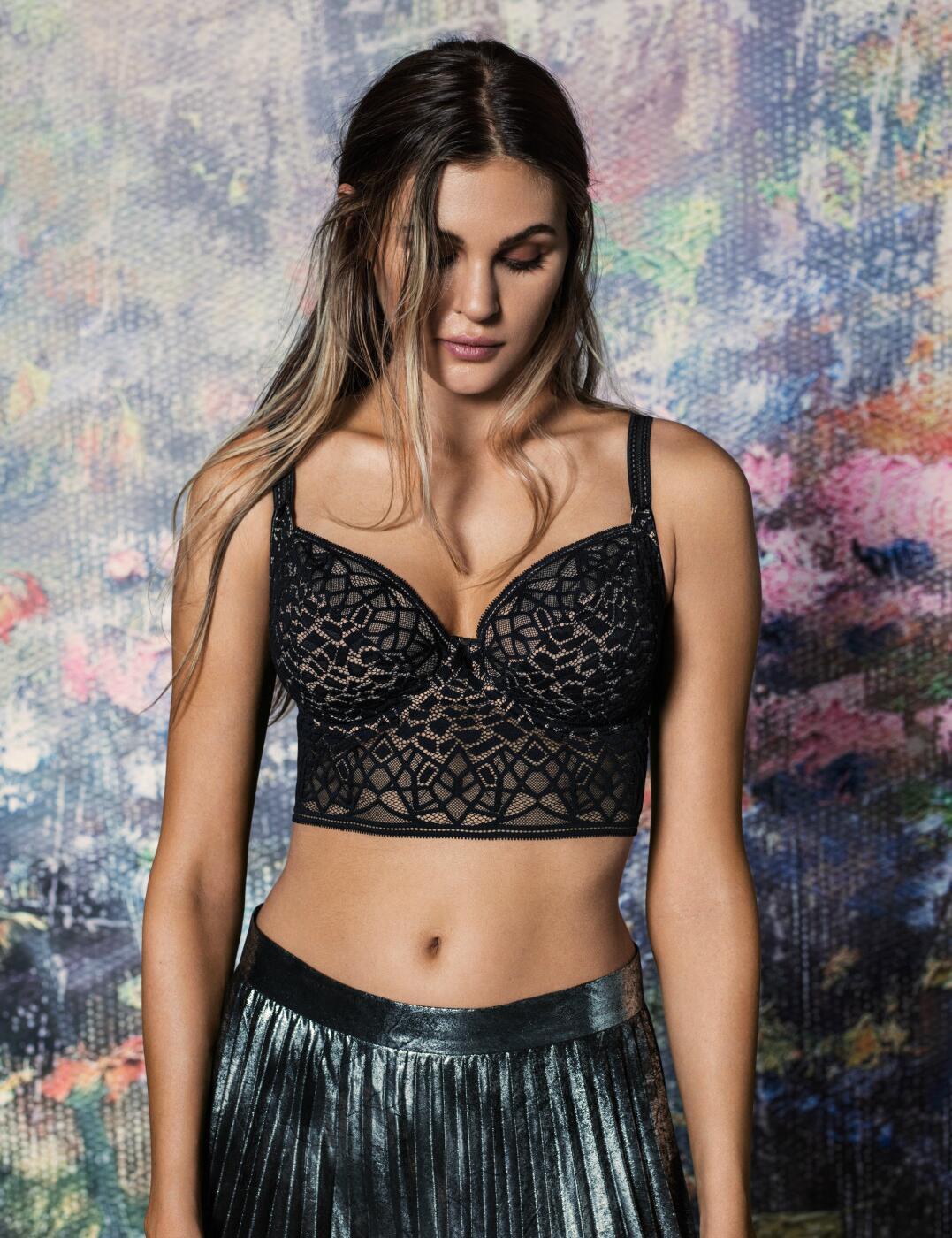 5014 Freya Soiree Lace Longline Bralette Bra - 5014 Black