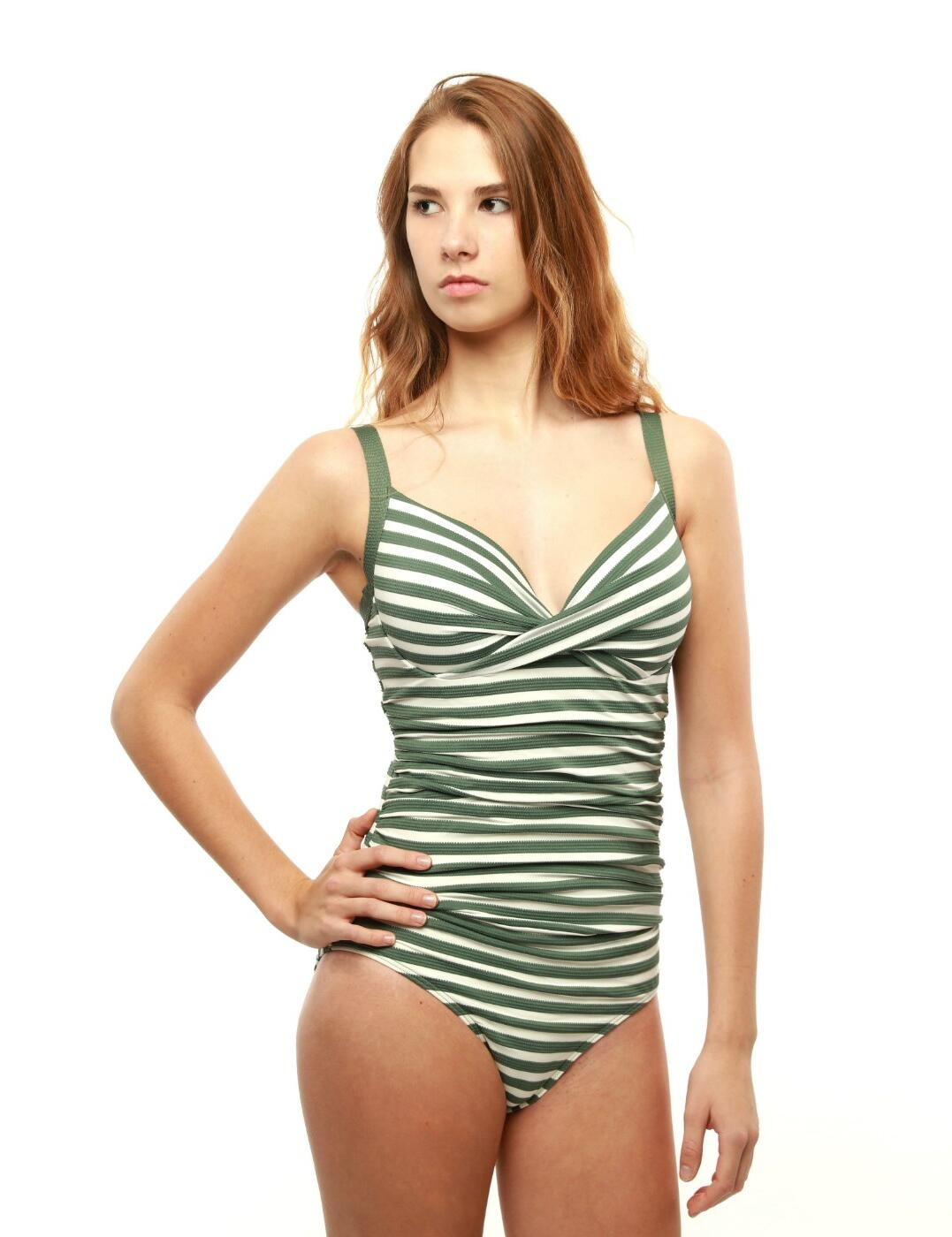 M4023AB Moontide Above Board Wrap Underwired Swimsuit - M4023AB Olive