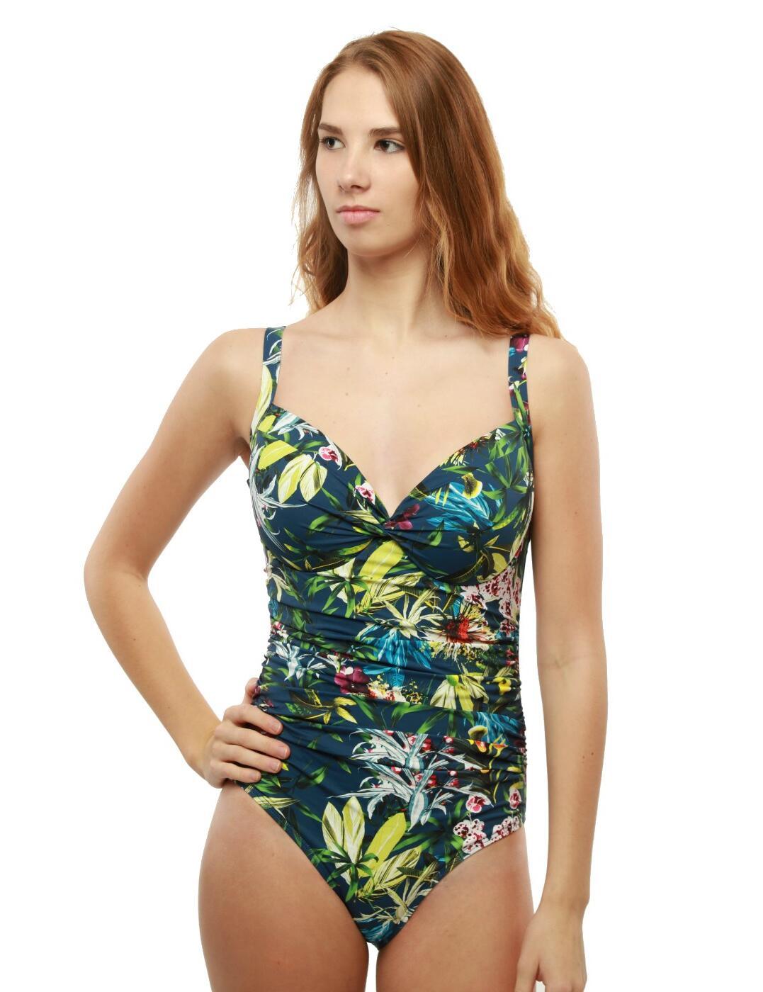 M445BT Moontide Botanical Twist Underwired Cross Front Swimsuit - M4458BT Jeans