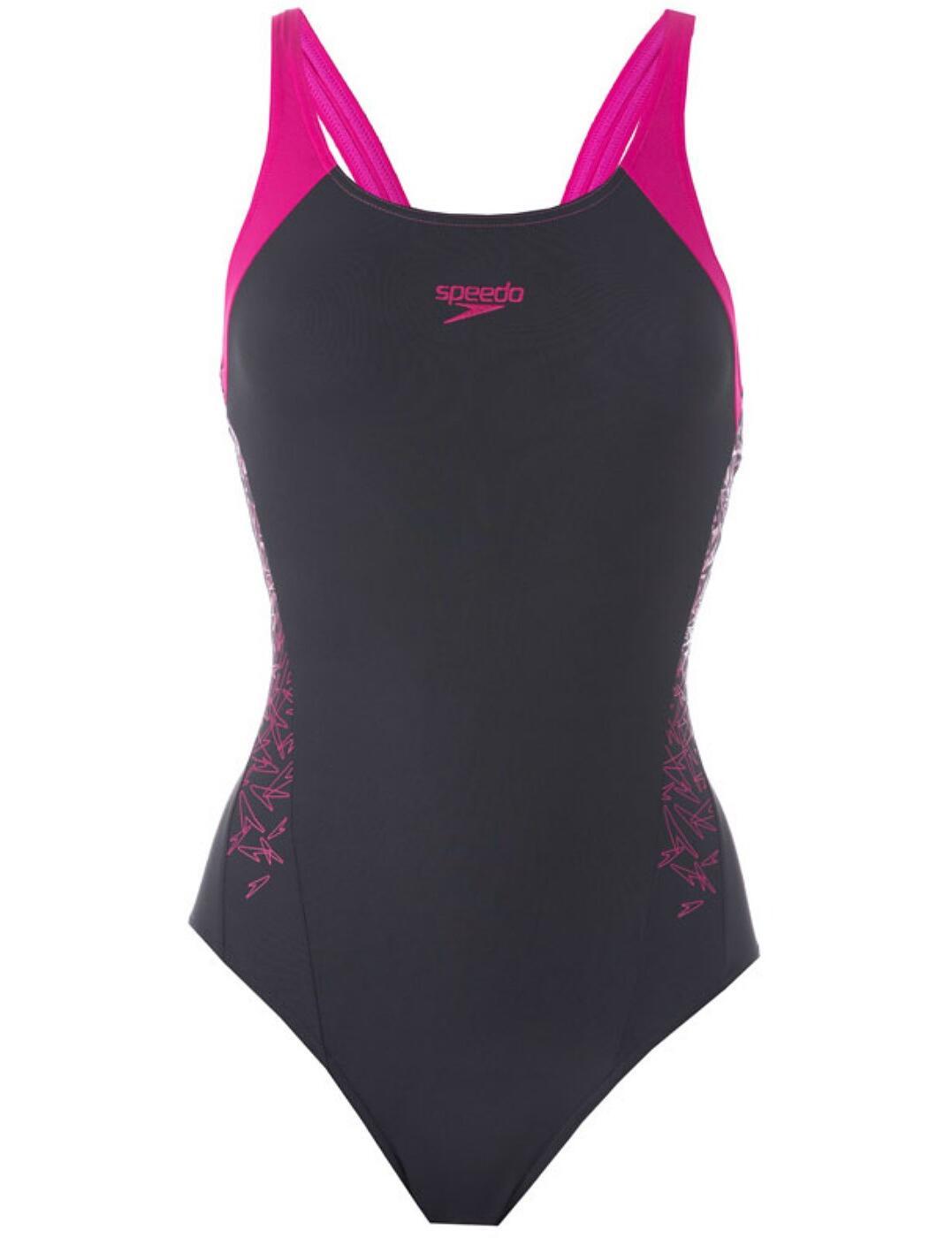 810821B374 Speedo Boom Splice Muscleback Swimsuit - 810821B374 Grey/Pink