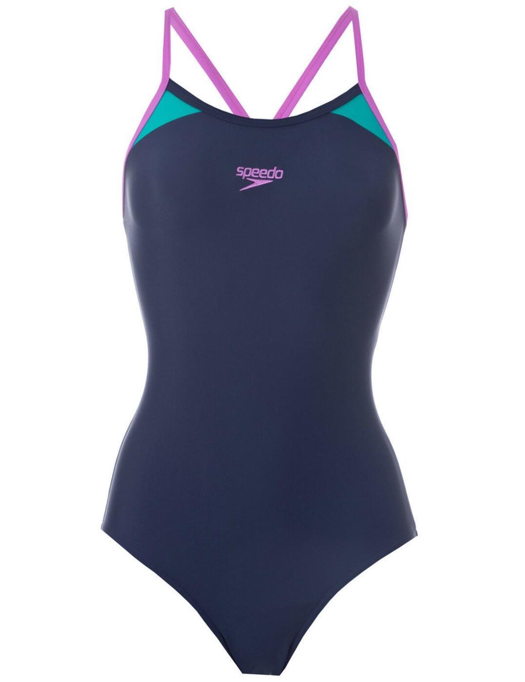 810837B373 Speedo Splice Thinstrap Racerback Swimsuit - 810837B373 Navy/Purple