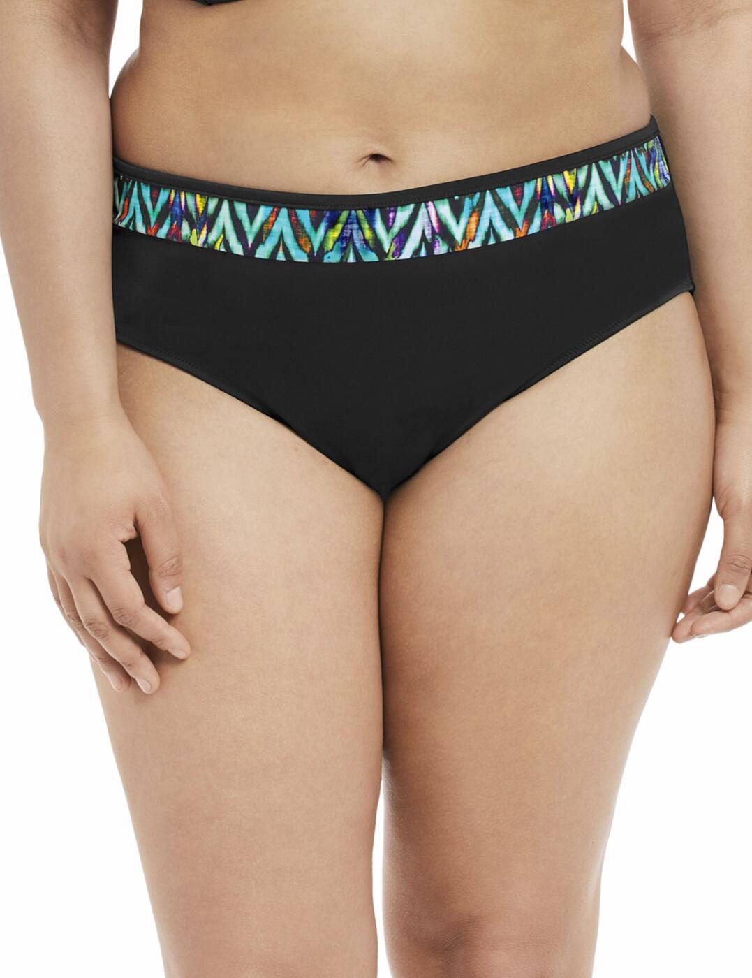 7114 Elomi Tribal Instinct Mid Rise Bikini Brief Black - 7114 Bikini Brief