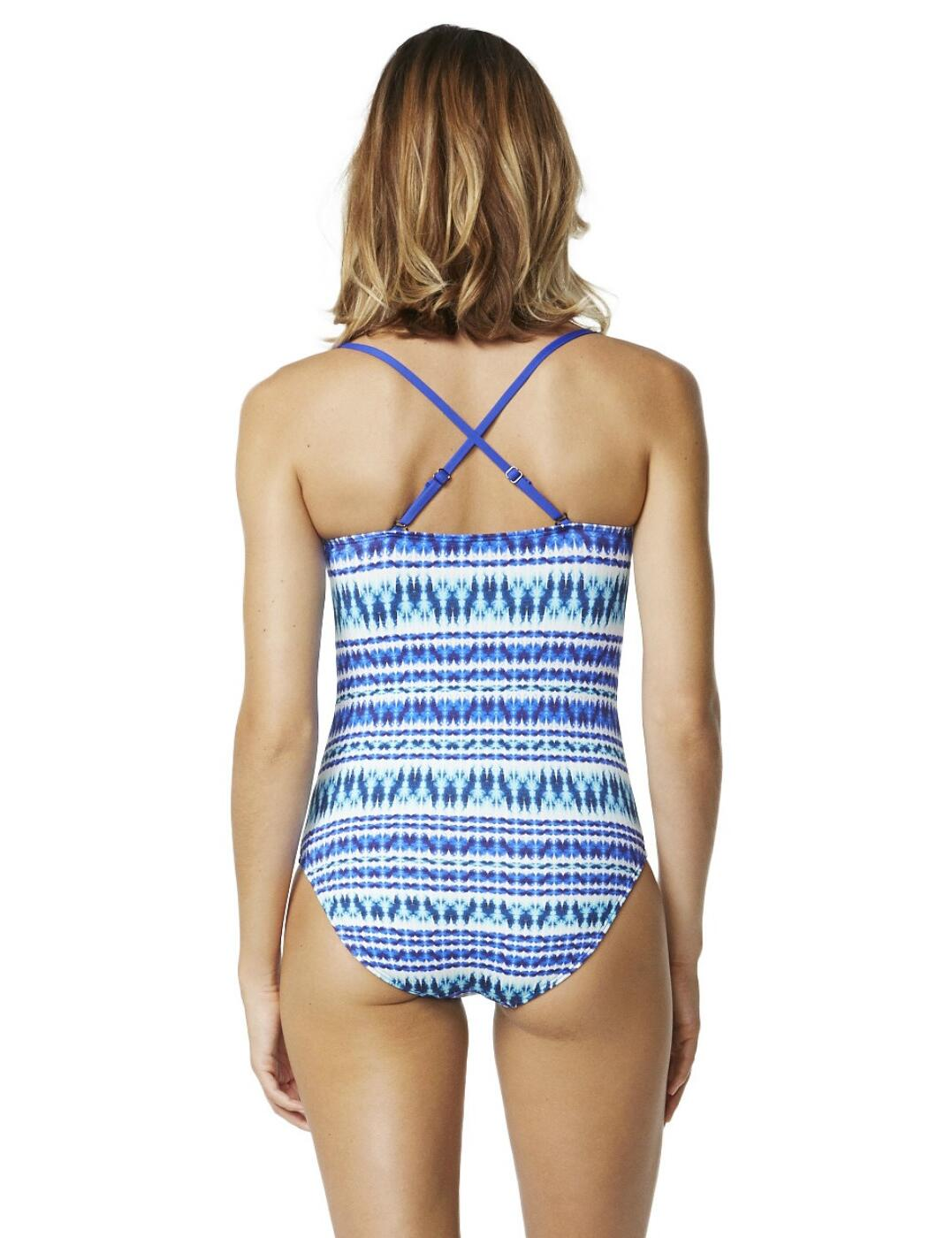 Moontide Tribal Beat Cross Front Swimsuit M4544TB Swimming Costume Electric Blue