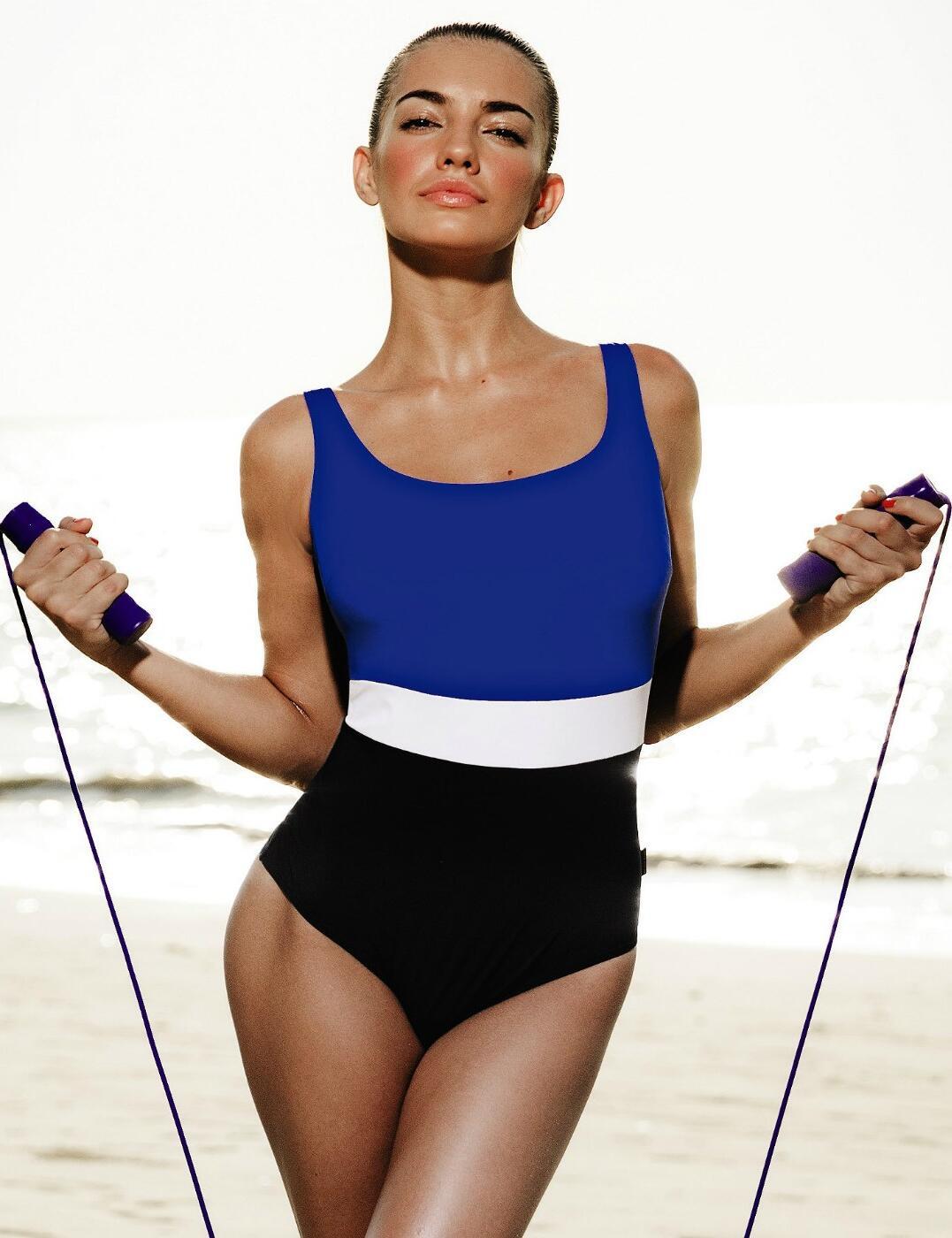 7702 Rosa Faia by Anita Cora Non-Wired Swimsuit - 7702 Black/Blue/White
