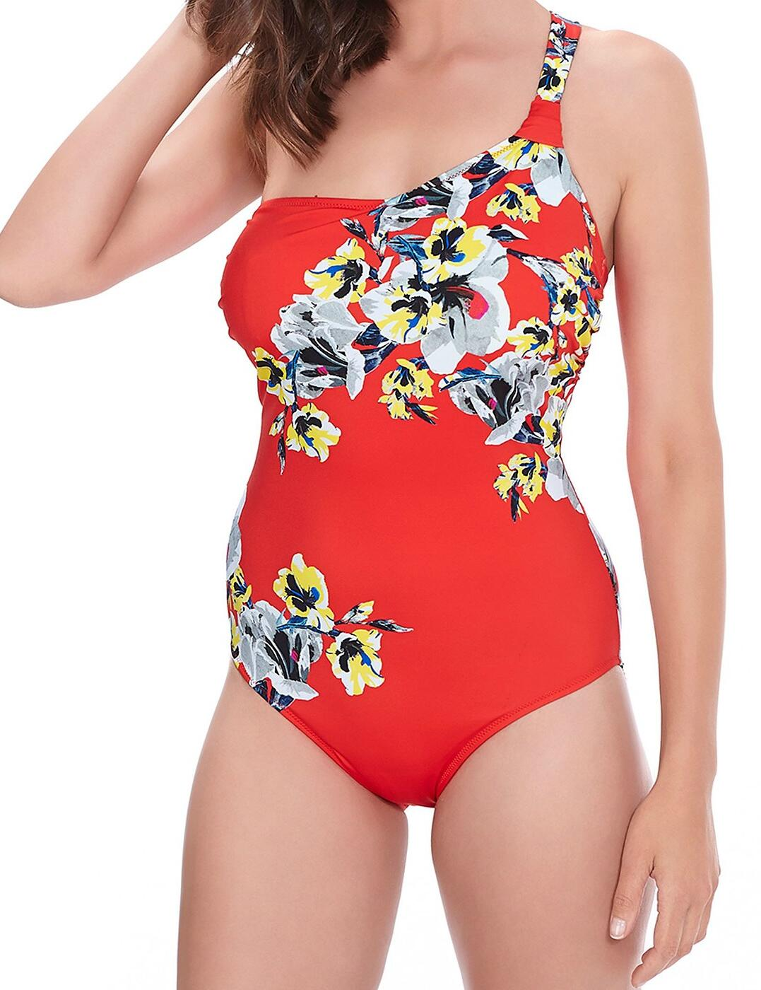 6263 Fantasie Calabria Underwired Asymmetric Swimsuit - 6263 Red