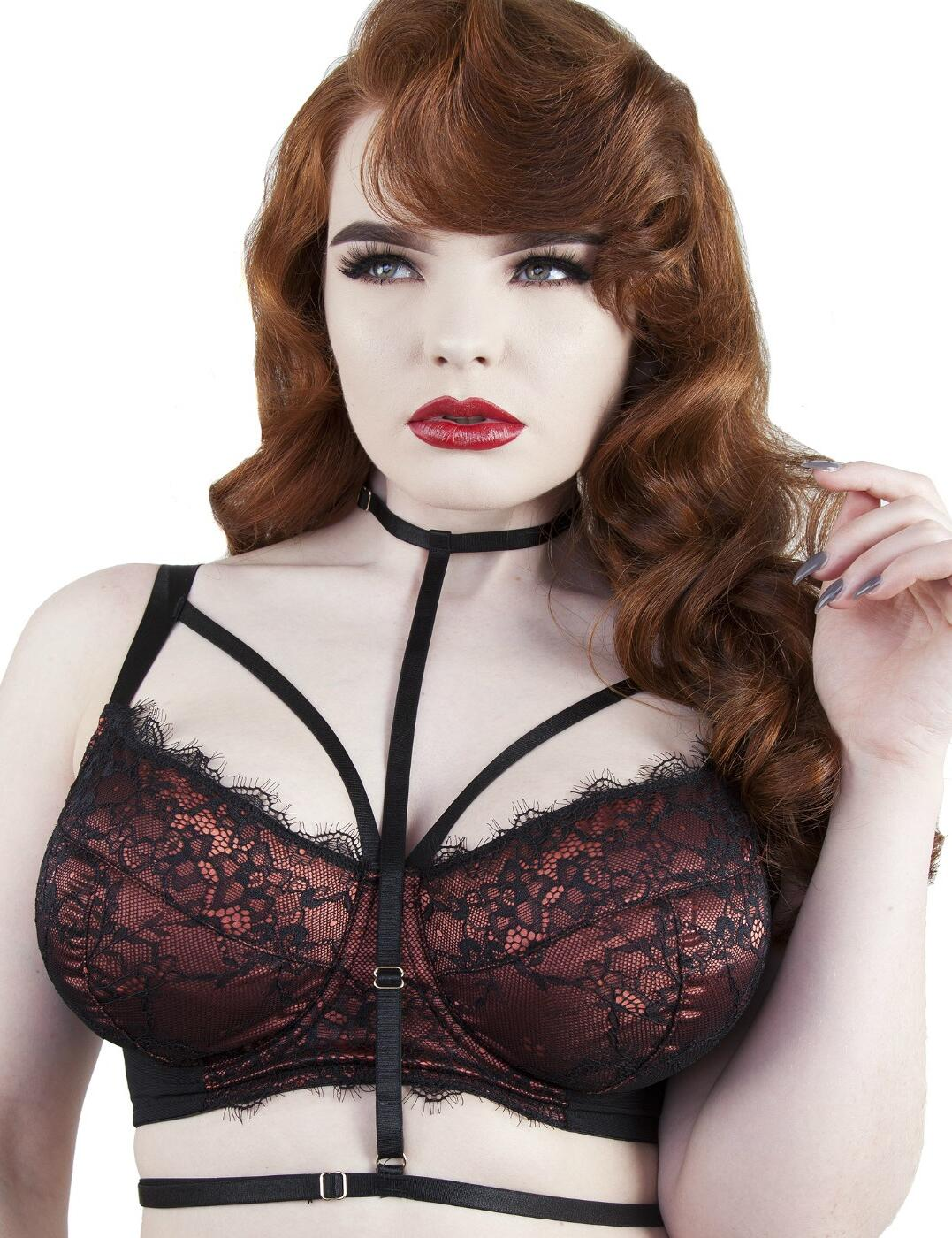 PPFB3057R Playful Promises Irena Underwired Satin And Lace Fuller Bust Bra With Harness - PPFB3057R Rust