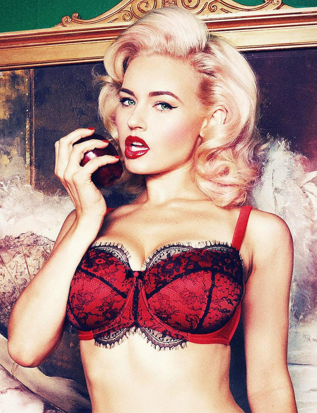 PPFB103 Playful Promises Cordelia Lace Overlay Balcony Bra (DD-G Cups) - PPFB103 Red