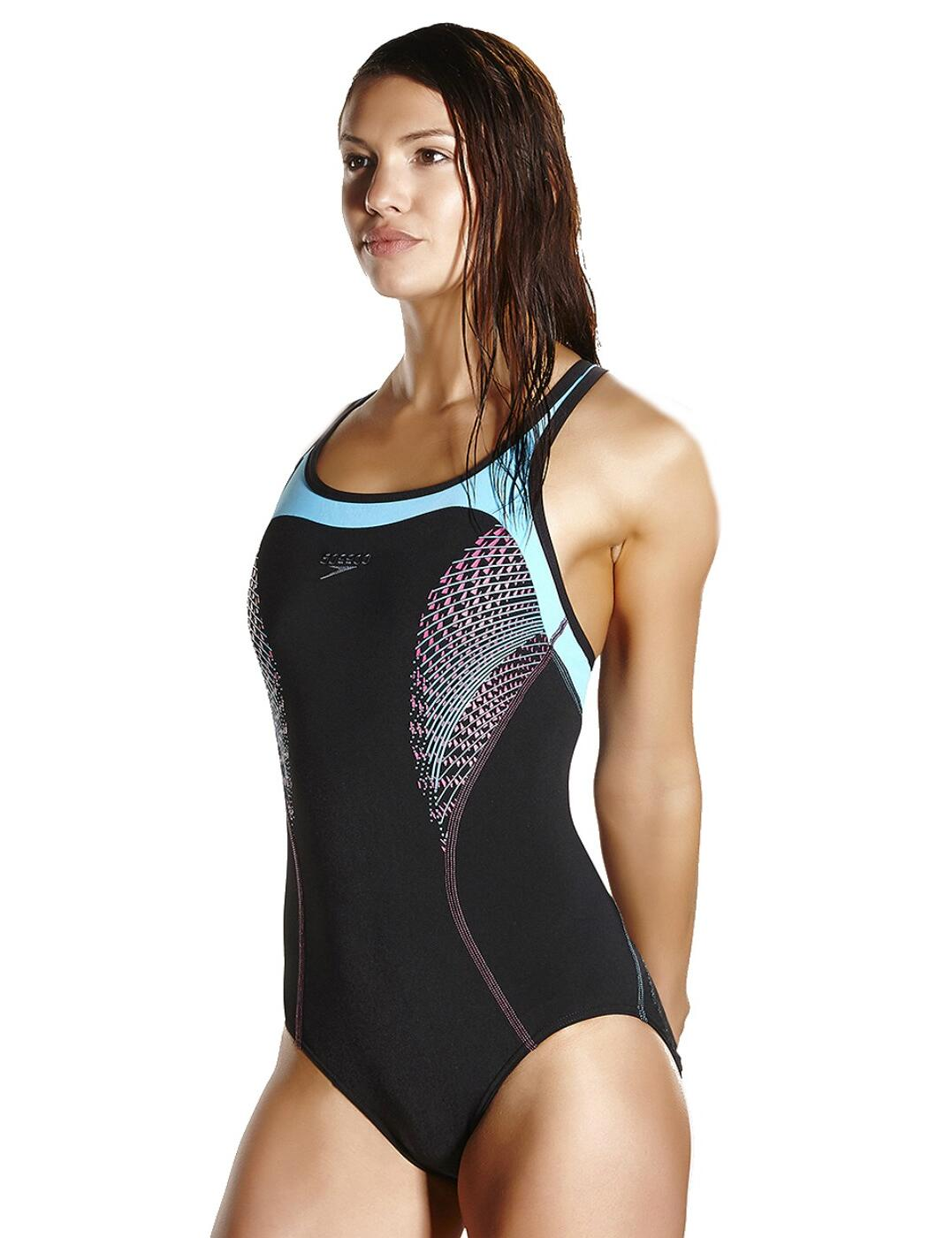 Details About Speedo Fit Kickback Swimsuit 810367b739 Blackpale Blue Swimming Costume