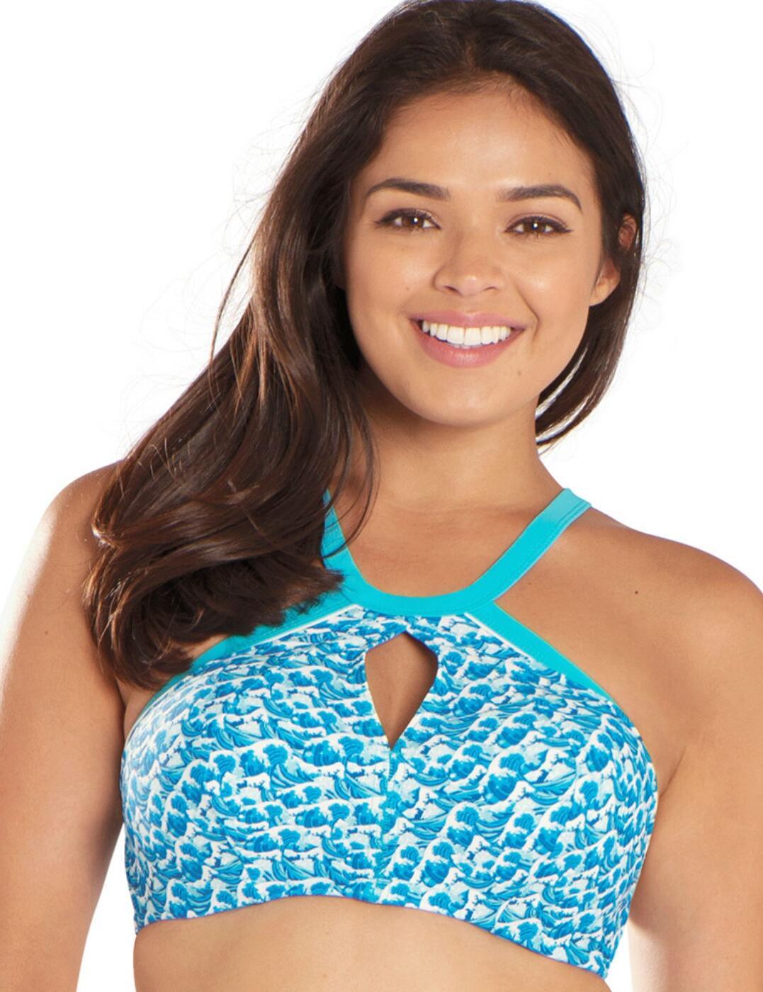 CS4851 Curvy Kate Riptide Plunge Bikini Top Blue Print - CS4851 Plunge Bikini Top
