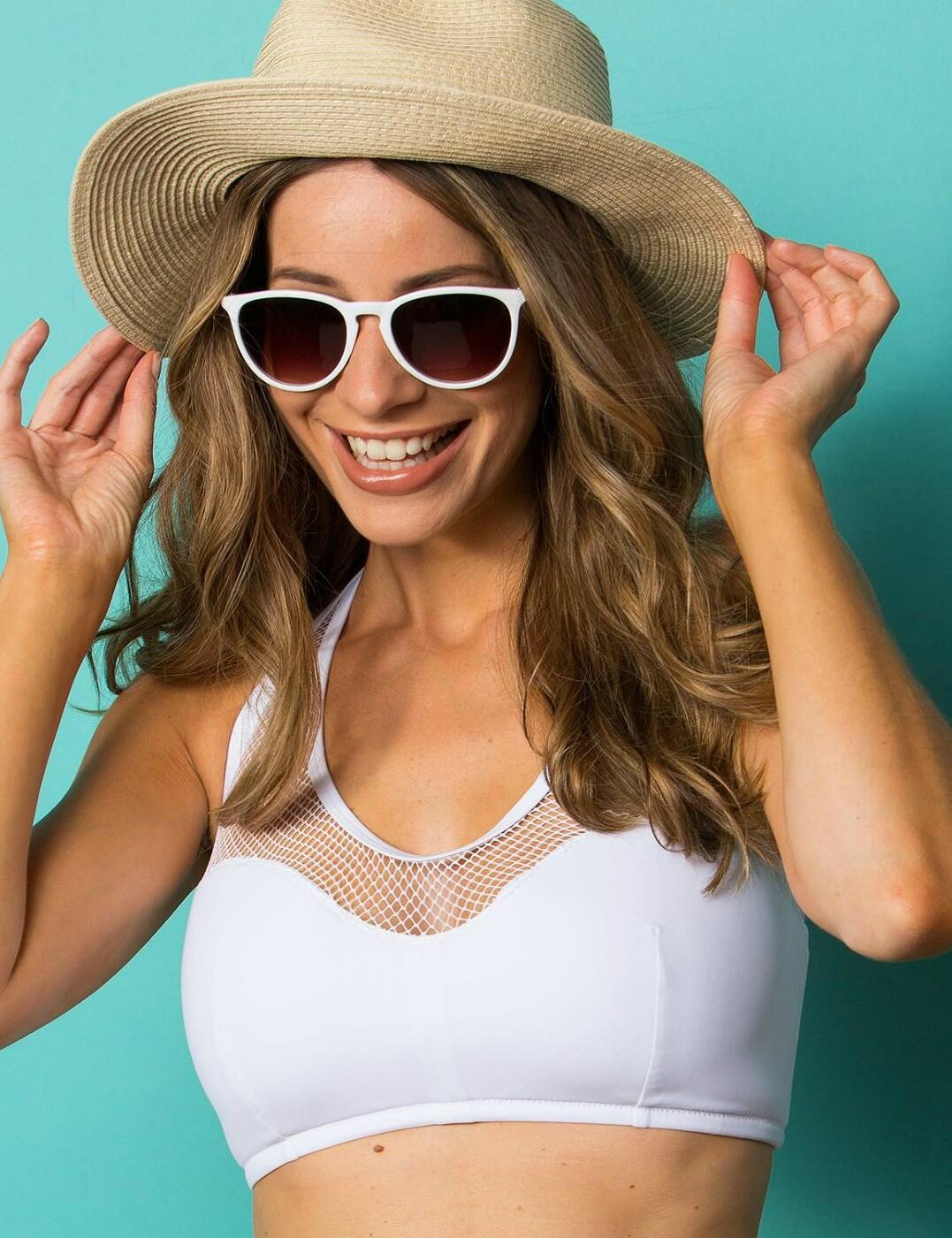 30007 Pour Moi? Glamazon Underwired Half Padded Halterneck Mesh Bikini Top - 30007 White