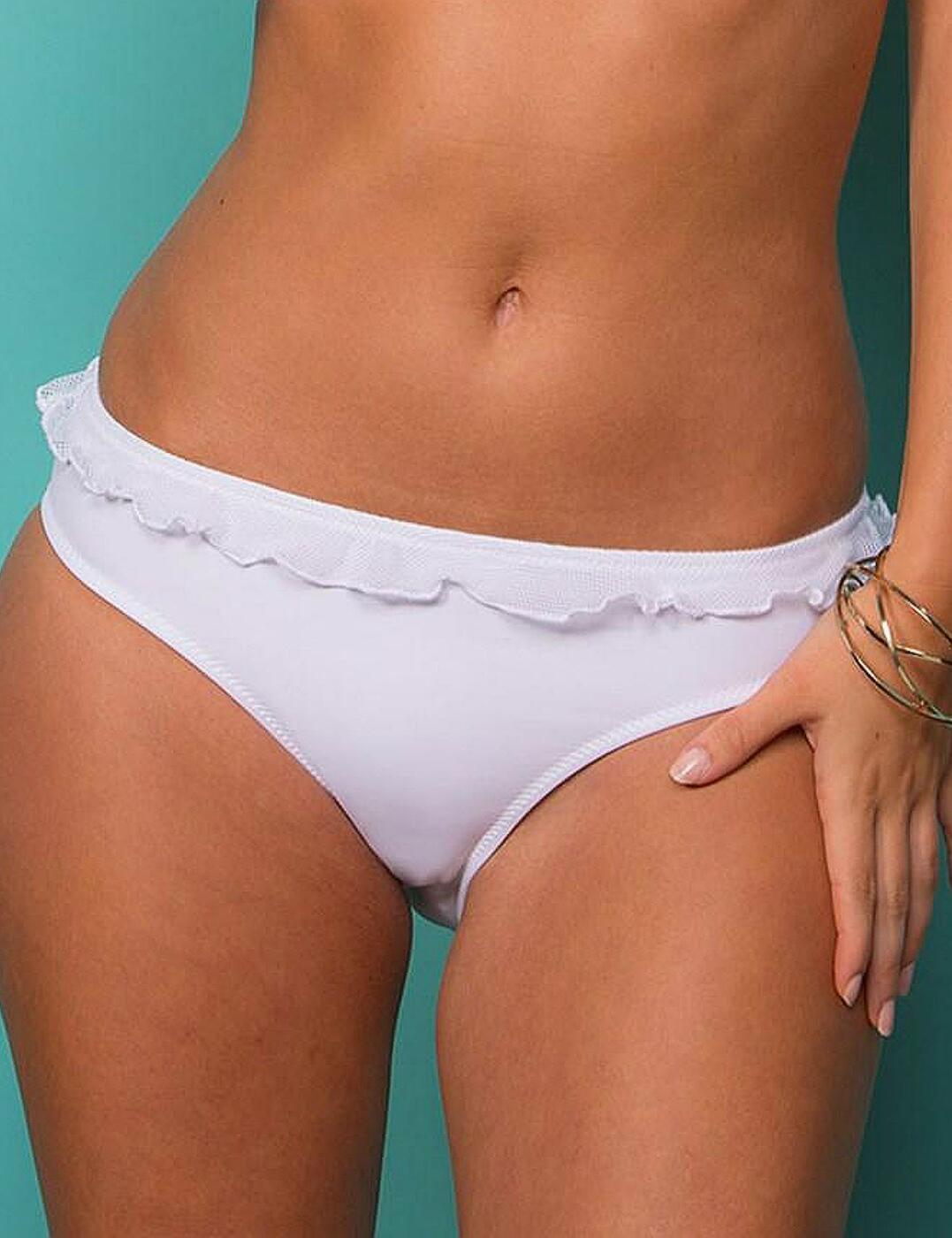 62004 Pour Moi Mesh It Up Frill Bikini Brief  - 62004 White