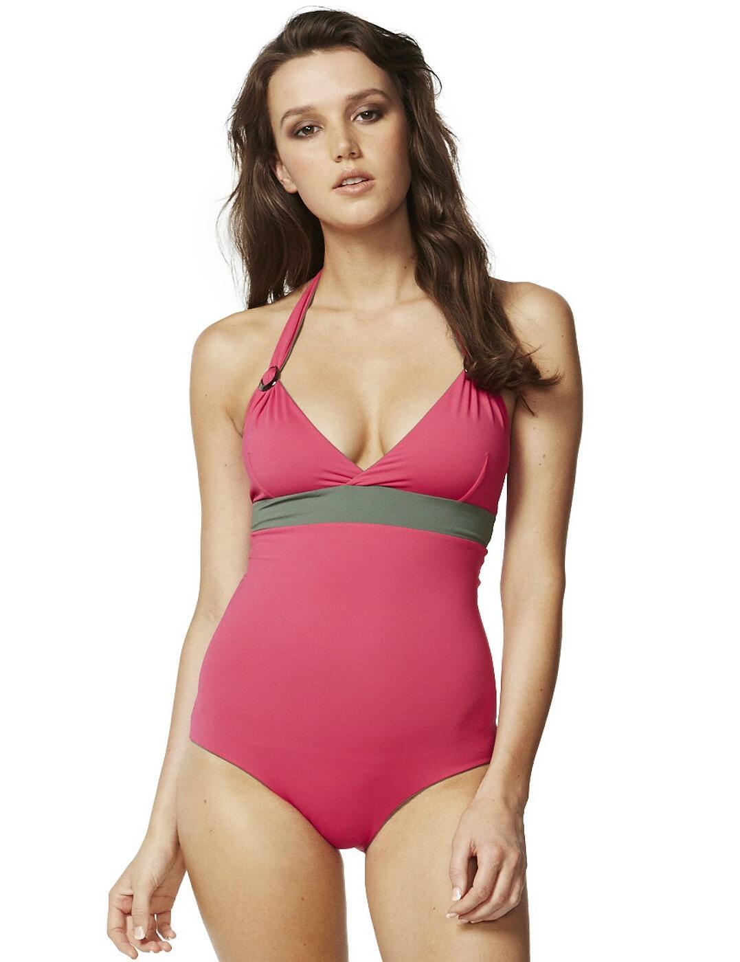 M4417RS Moontide Reversible Halterneck Swimwear - M4417RS Olive/Raspberry