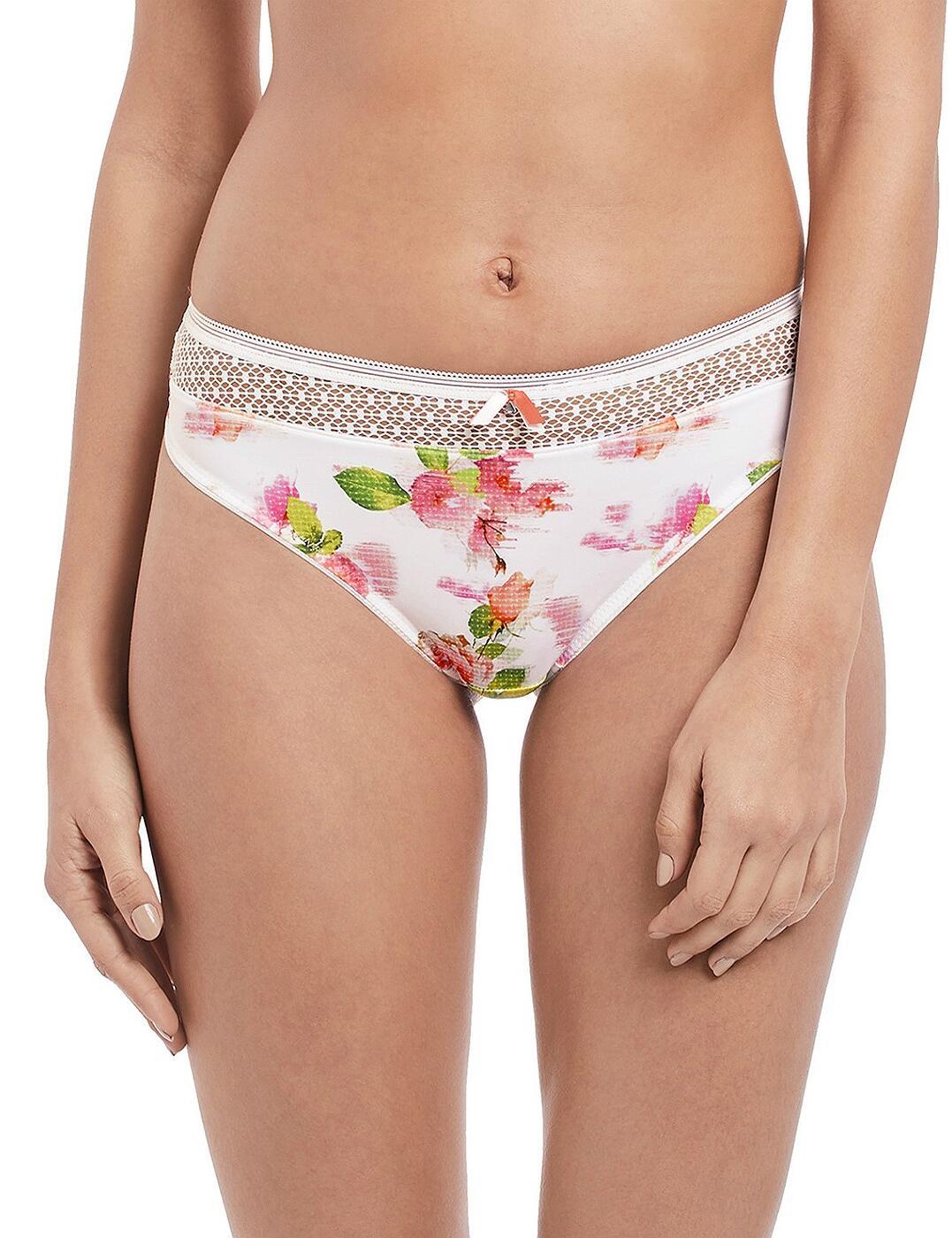 Freya Florri Brazilian Brief 3107 New Womens Knickers White Floral Lingerie