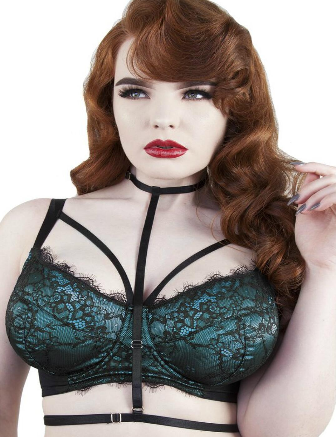 PPFB3057T Playful Promises Irena Satin and Lace Full Bust Bra with Harness - PPFB3057T Teal