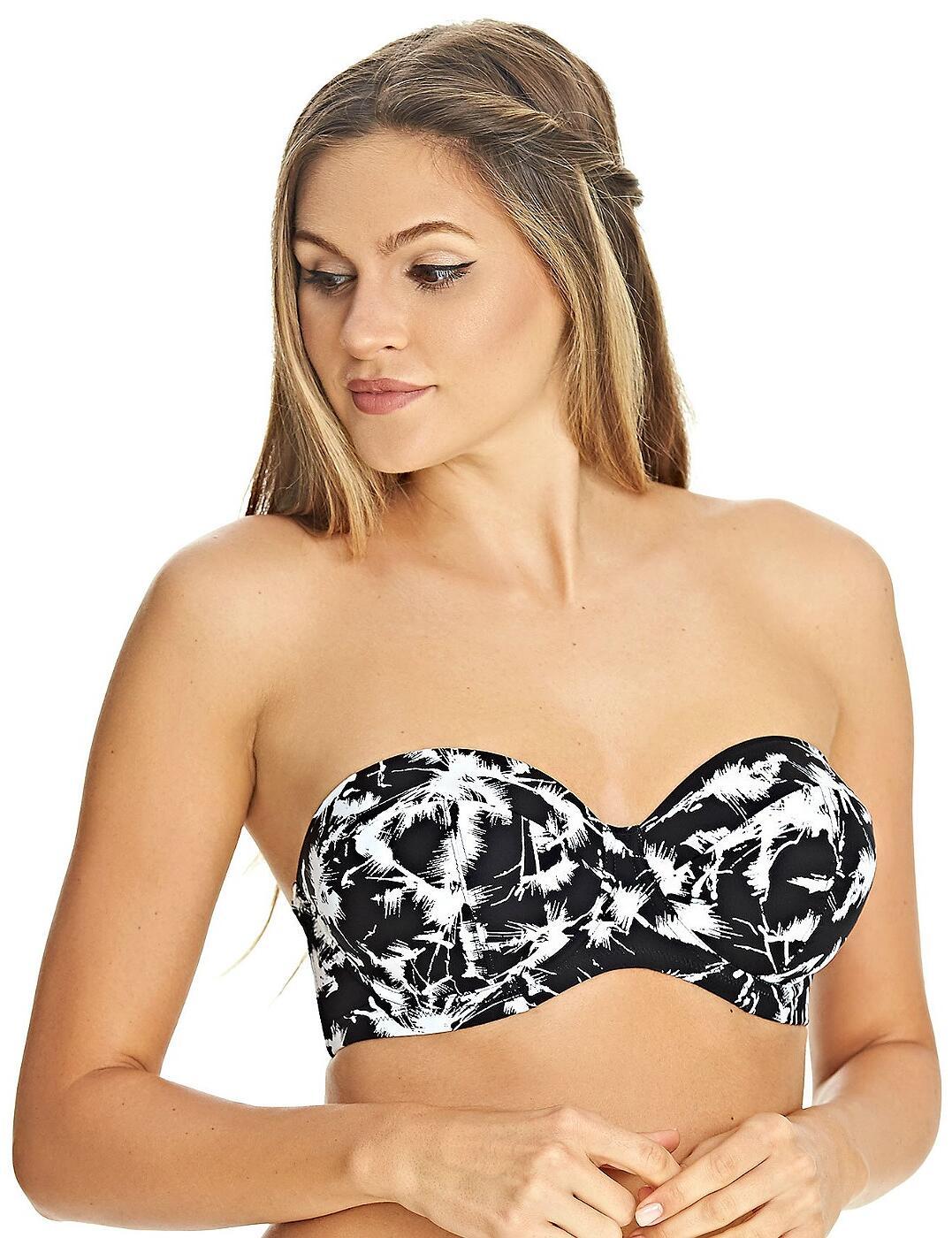 4021 Freya Palm Haze Underwired Padded Bandeau Bikini Top - 4021 Monochrome
