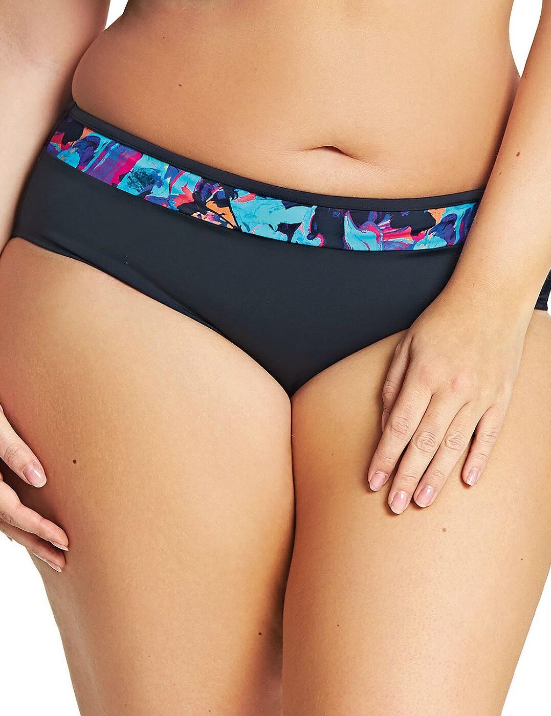 7074 Elomi Abstract Mid Rise Bikini Brief - 7074 Black