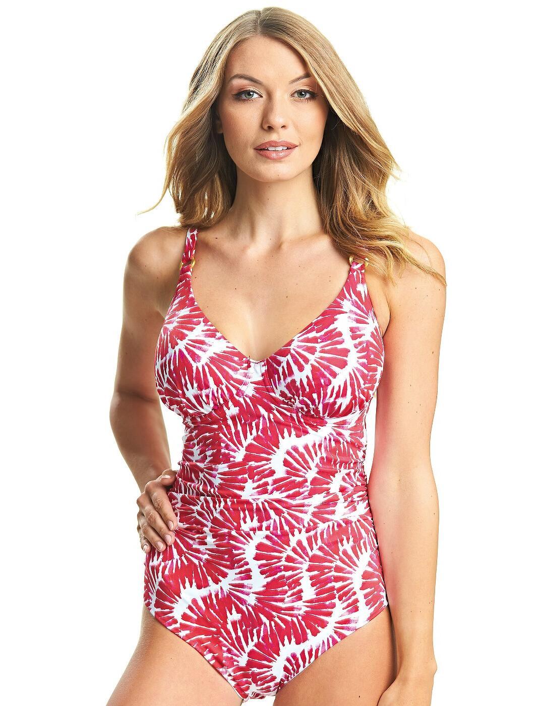 6318 Fantasie Lanai Plunge Control Swimsuit  - 6318 Rose Red