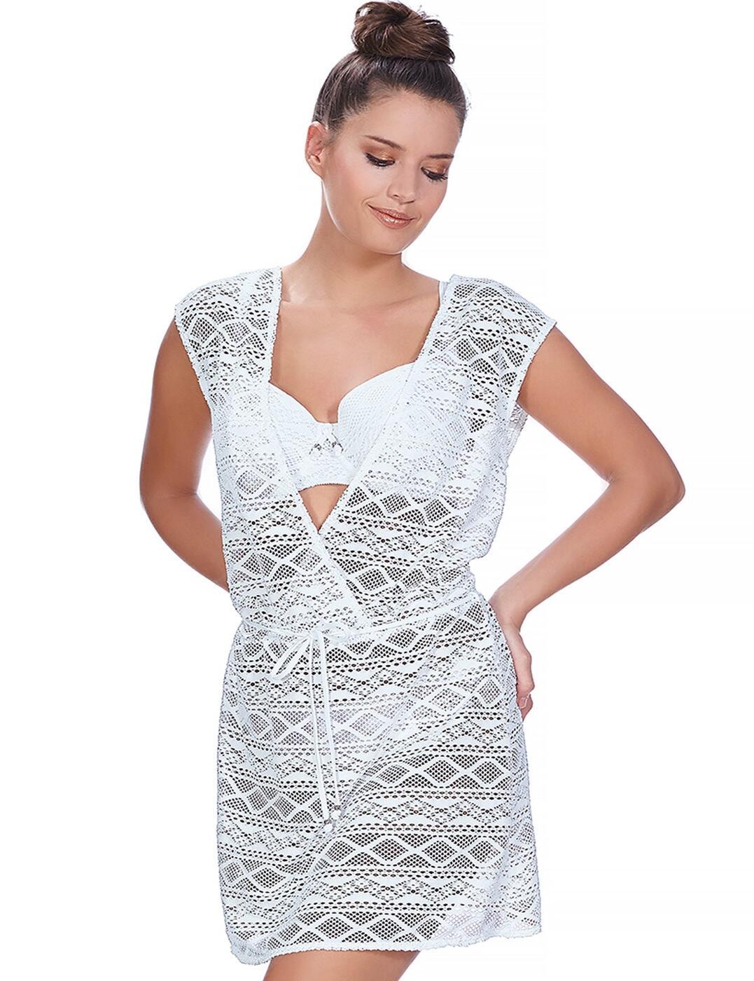 3978 Freya Sundance Cross Over Beach Dress - 3978 White