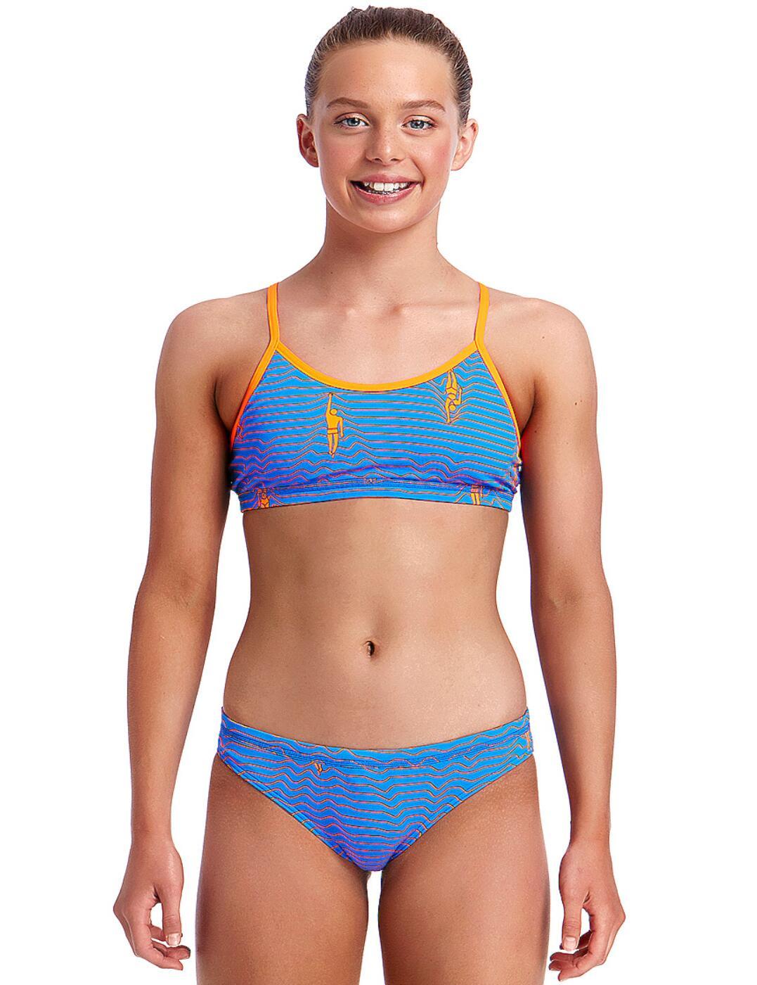FS02G02000 Funkita Girls Ocean Swim Racerback Two Piece Bikini Set - FS02G02000 Ocean Swim