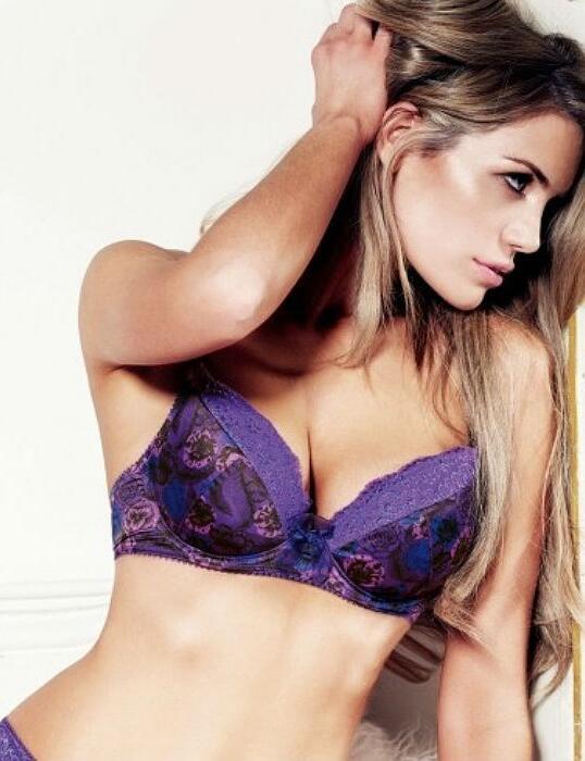 Ladies Gossard Superboost Satin Padded Plunge Full Cup Underwired Bra Purple