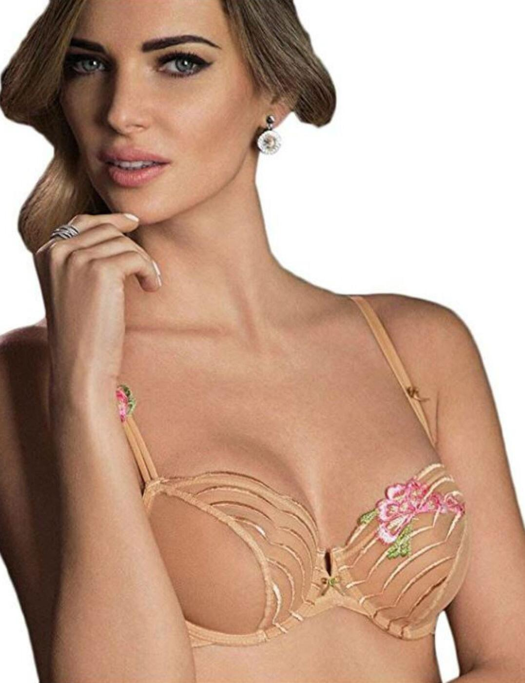 108002 Wacoal Intuition Embroidered Balcony Bra - 108002 Toasted Beige