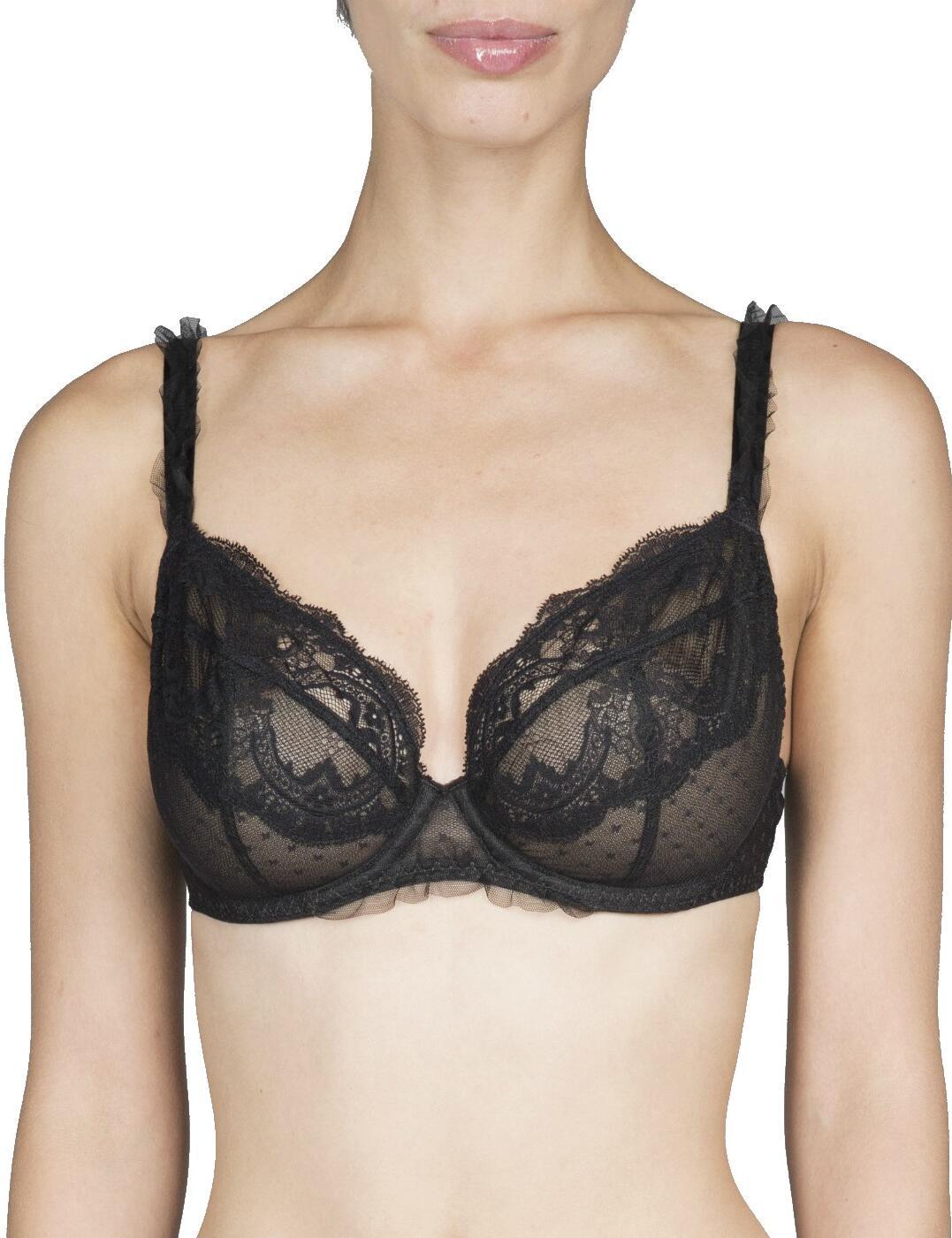 31631 Maison Lejaby Demoiselle 3 Part Balconette Bra - 31631 Black (Noir)