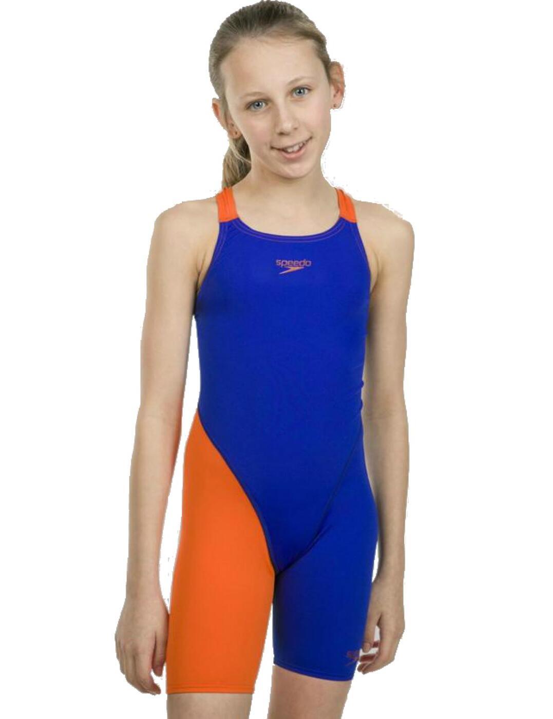 Openback Kneeskin 809732C611 Blue//Orange Speedo Children/'s Fastskin Endurance