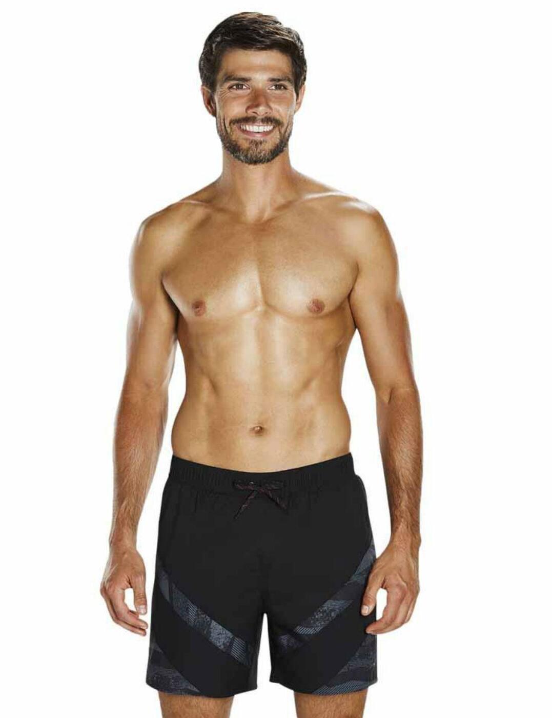 """811363C168 Speedo Sport Panel 16"""" Watershort Swim Trunk - 811363C168 Black/Grey"""