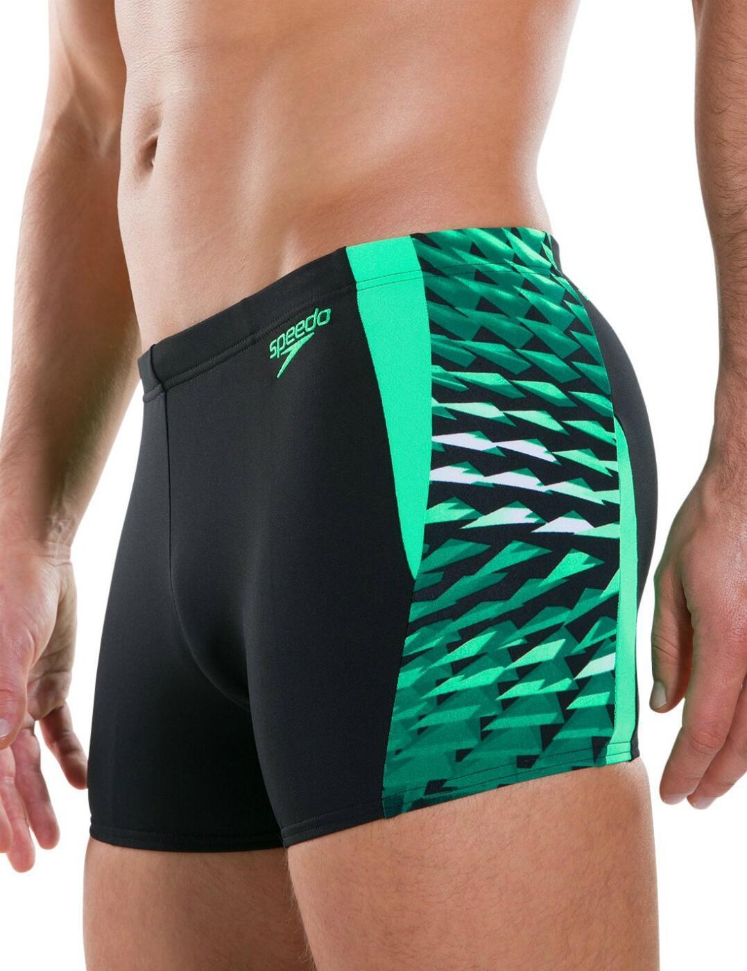 811356C502 Speedo Men's Graphic Splice Aquashort - 811356C502 Black/Green
