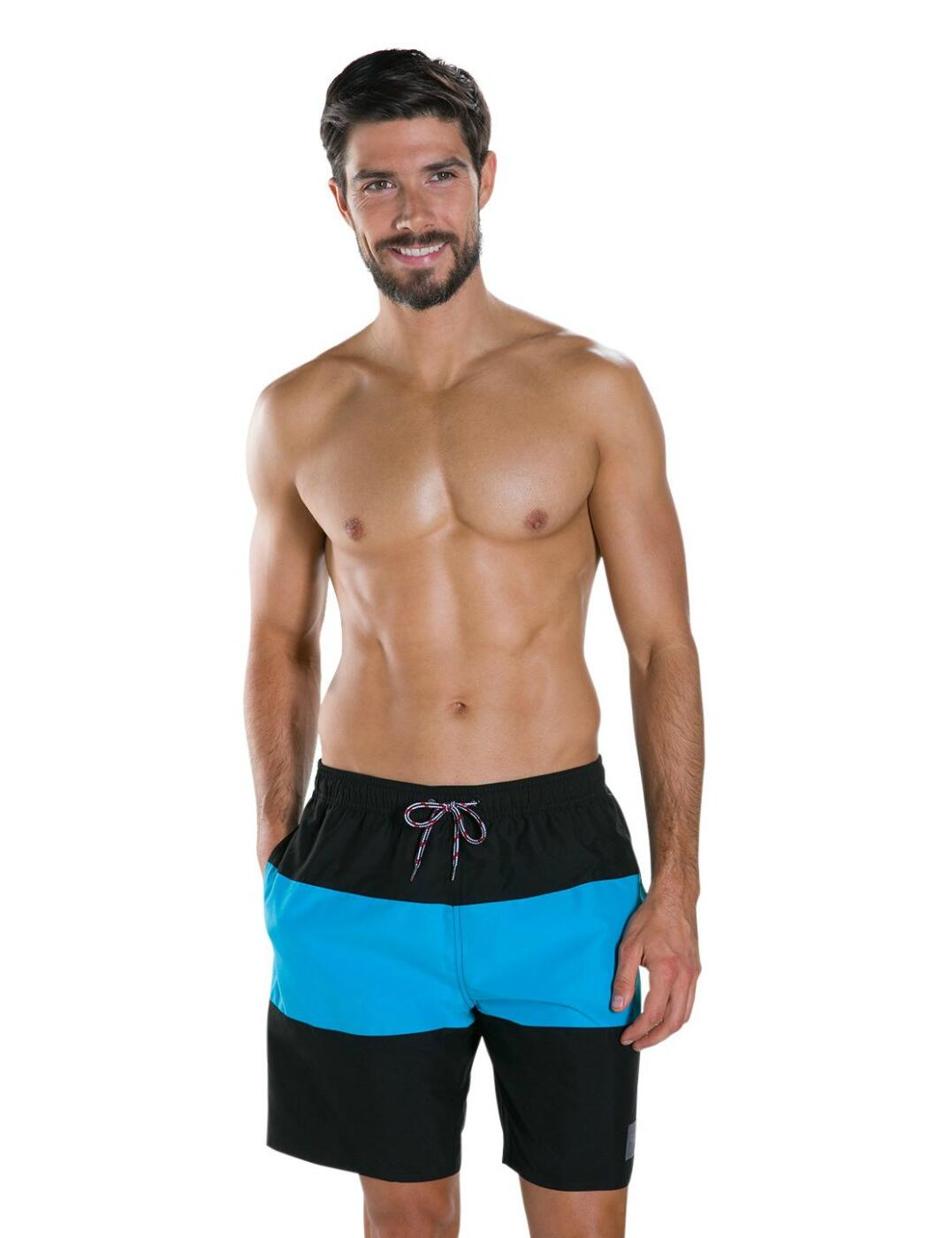 "811362A504 Speedo Men's 18"" Panel Leisure Swim Shorts - 811362A504 Black/Blue"