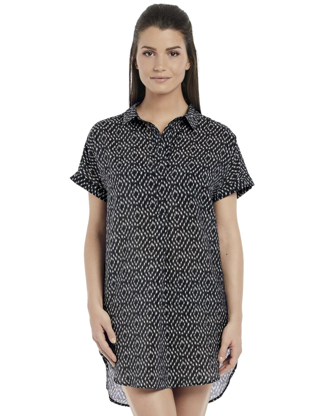 6445 Fantasie Byron Bay Shirt Beach Dress - 6445 Black/Cream