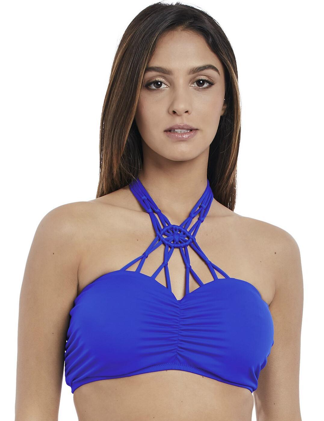 4053 Freya Macrame Underwired Padded Bandeau Bikini Top - 4053 Cobalt