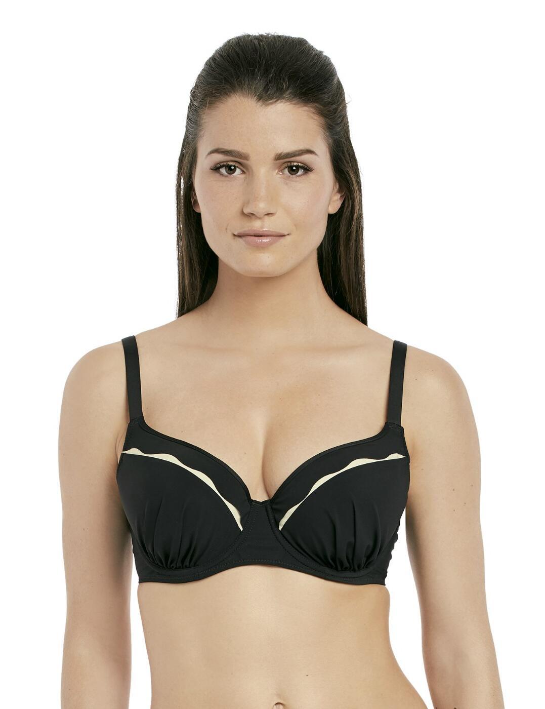 6232 Fantasie Sainte Maxime Underwired Gathered Moulded Bikini Top - 6232 Black/Cream