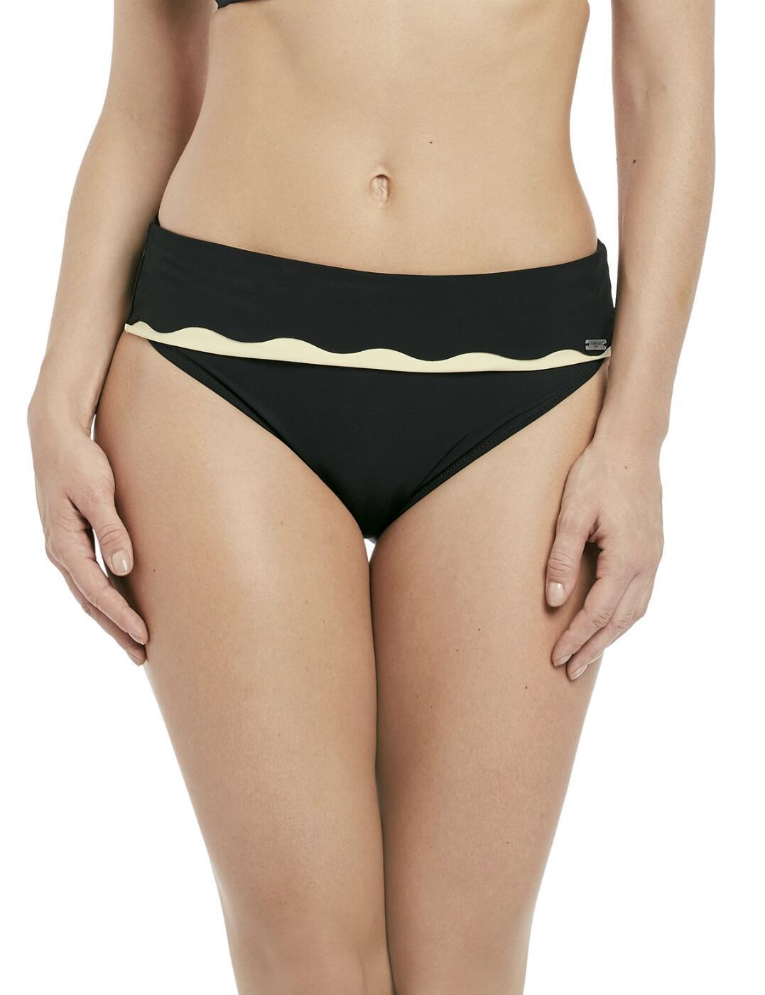 6235 Fantasie Sainte Maxime Fold Over Bikini Brief - 6235 Black/Cream
