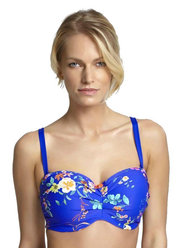 SW1053 Panache Florentine Bandeau Bikini Top - SW1053 Cobalt/Floral