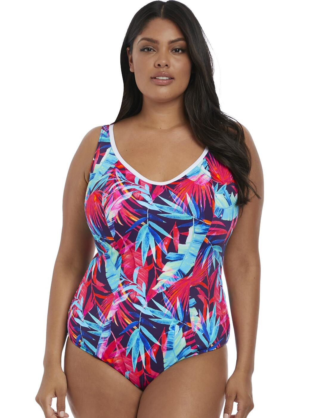 7140 Elomi Paradise Palm Moulded Swimsuit - 7140 Ink