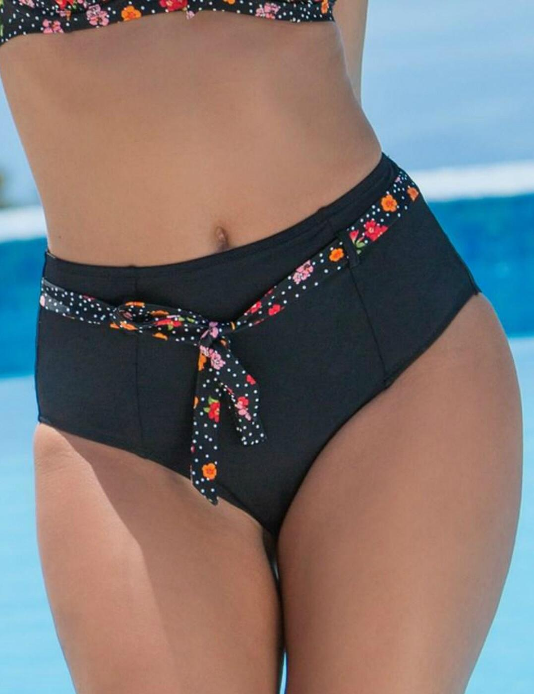 3909 Pour Moi Hot Spots Belted Control Bikini Brief - 3909 Ditsy
