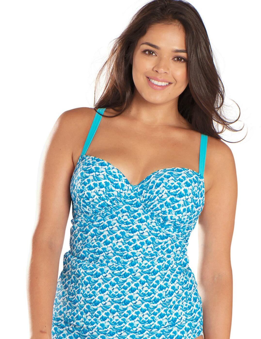 CS4816 Curvy Kate Riptide Padded Balcony Tankini Top - CS4816 Blue Print